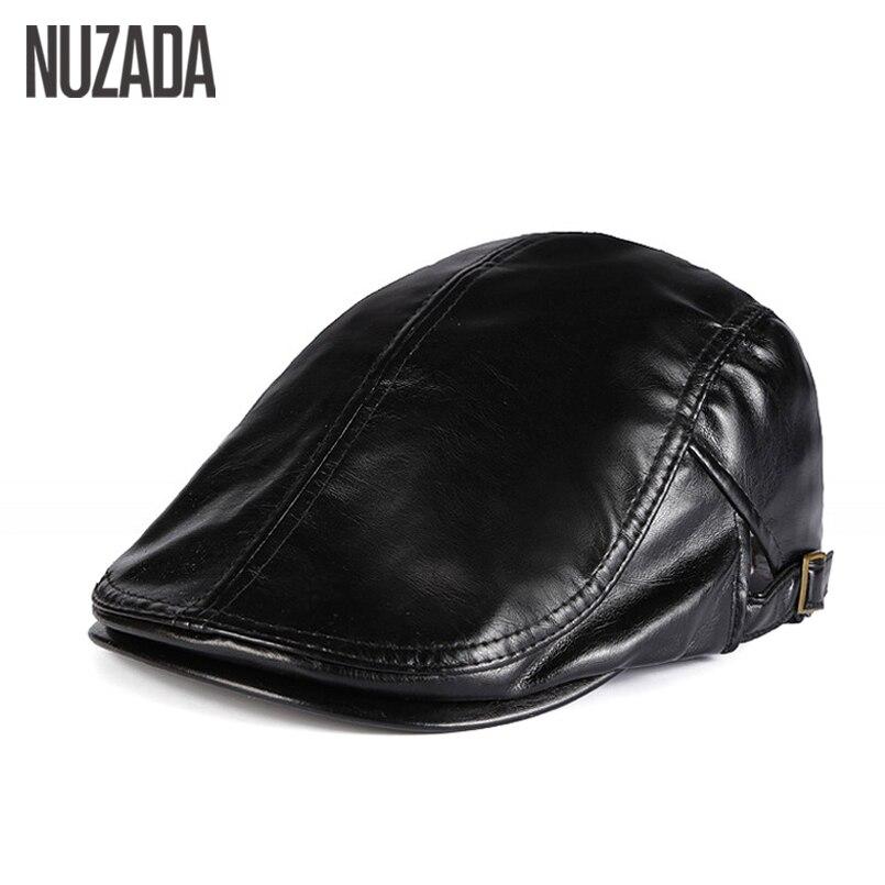 NUZADA Autunno Inverno PU Pelle Artificiale Beret Cappelli Unisex Uomo donne Visiera Piatta Caps Boina 5 Colori Solidi Può Registrabile Cap