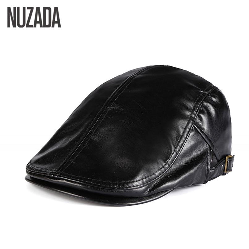 NUZADA téli őszi mesterséges PU bőrbőr sapka Unisex férfiak női lapos visor sapkák Boina 5 tömör színek állítható sapka