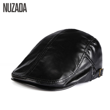 NUZADA Winter Autumn Artificial PU Leather Beret Hats Unisex