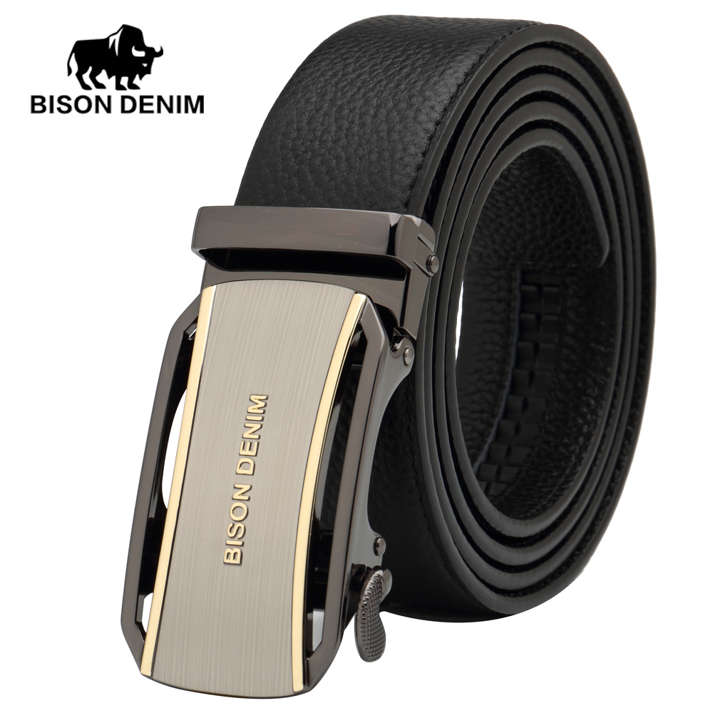 BISON DENIM top layer genuine leather buckle Dress accessories belt Wedding groomsmen gift designer belt men