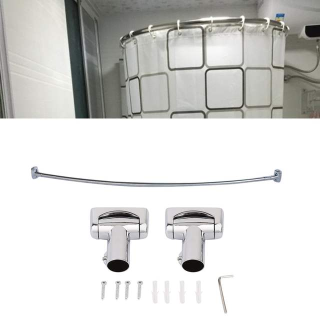 Placeholder Practical Stainless Steel Brushed Nickel Curved Shower Curtain  Rod Bath Area Bathtub Accessory LU Type Bathroom
