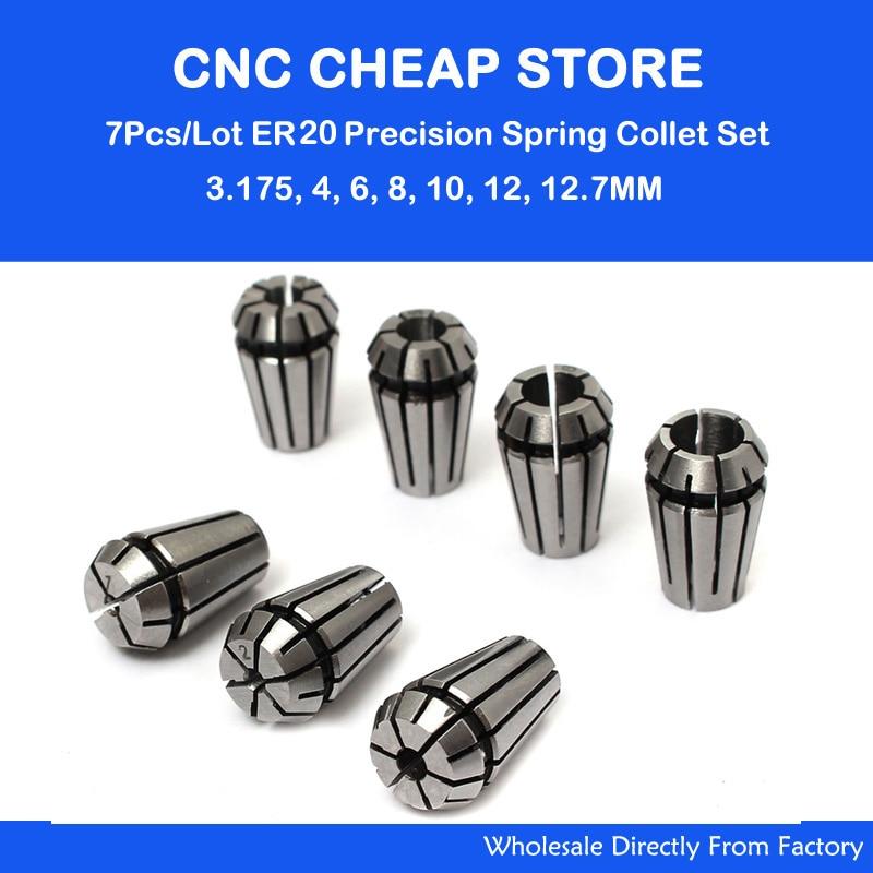 7PCS ER20 1//8/'/' 1//2/'/' Spring Collet Set For CNC Engraving Milling Lathe Tool
