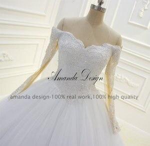 Image 3 - Amanda Design Off Shoulder Long Sleeve Lace Applique Pearls Ball Gown Wedding Dress
