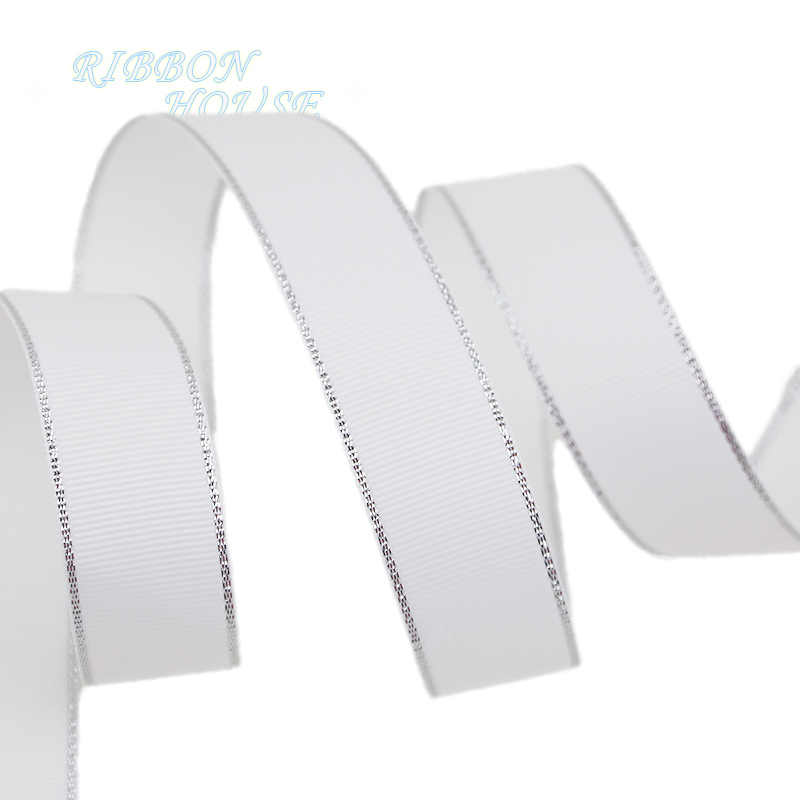(10 yards/lot) White Silver Edge printed grosgrain ribbon gift wedding ribbons