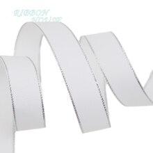 (10 ярдов/партия) белый серебряный край печатных корсажная лента подарок свадебные ленты