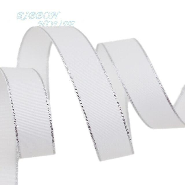 (10 מטר/הרבה) לבן כסף קצה מודפס מבהיקי סרט מתנה סרטי חתונה
