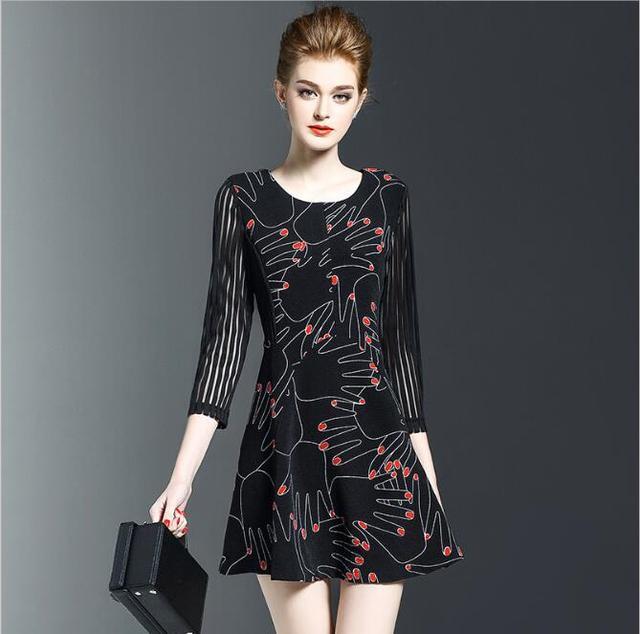 Autumn Plus Size Dresses Women Fashion Slim Black Finger Dress Girl