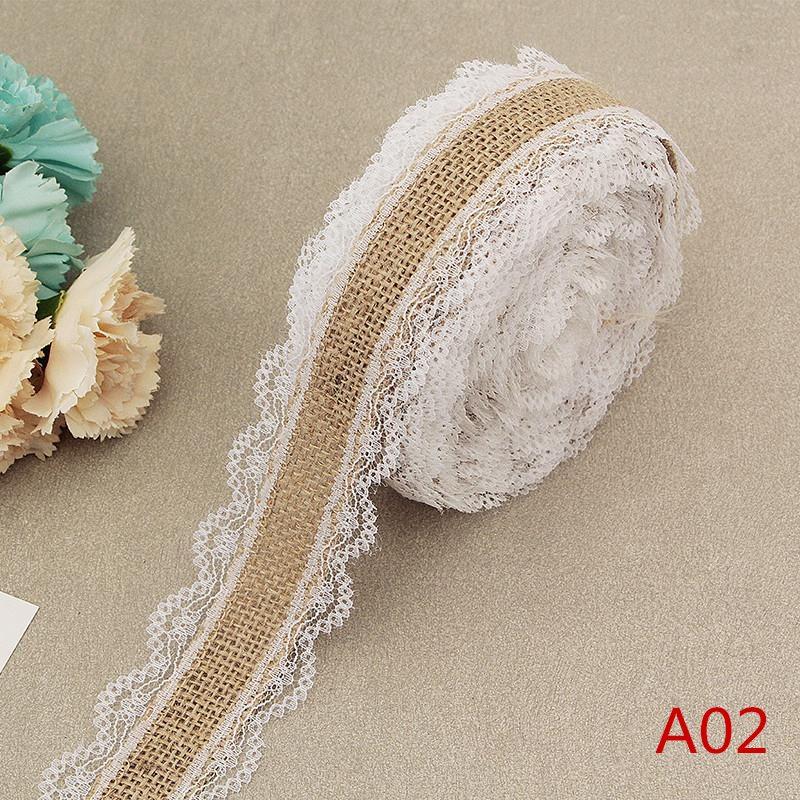 HTB172OeKrvpK1RjSZPiq6zmwXXae 2Meter/Lot 25mm Natural Jute Burlap Hessian Lace Ribbon with White Lace Trim Edge Rustic Vintage Wedding Centerpieces Decor