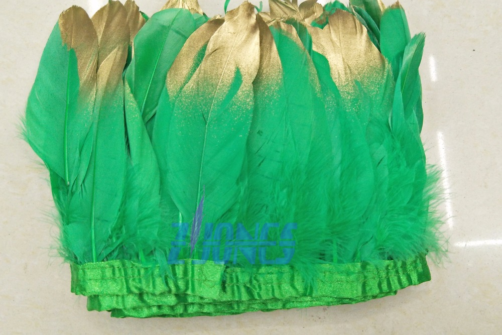 10yards /lot gold paint spray goose feather fringes 13-18cm Dark Green with gold tips goose feather trims for dress skirt
