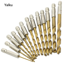 Yalku 13pcs Twist Drill Bit Perforating Electric Drill Driver HSS Drill Bits Metal Woodworking Tool Hexagonal Screw Bit Kit