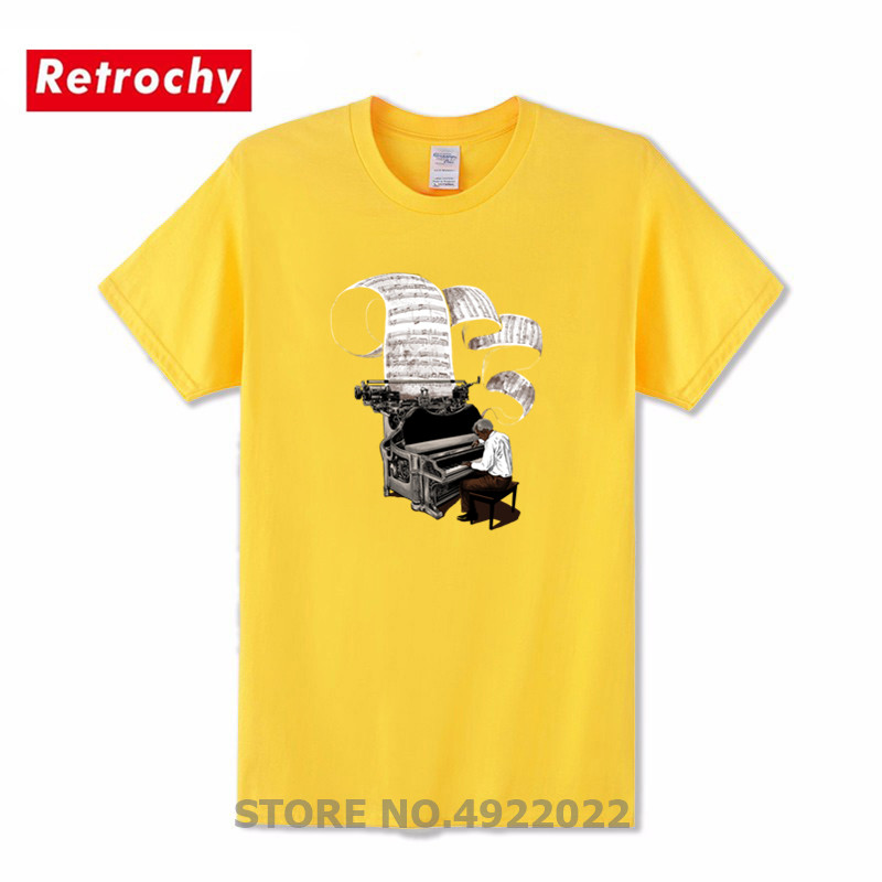 Creative Design Composer Music Note Piano Pianist Tshirt Men Short Sleeve Best Thanksgiving Day T-Shirt Party New Team Tee Shirt image