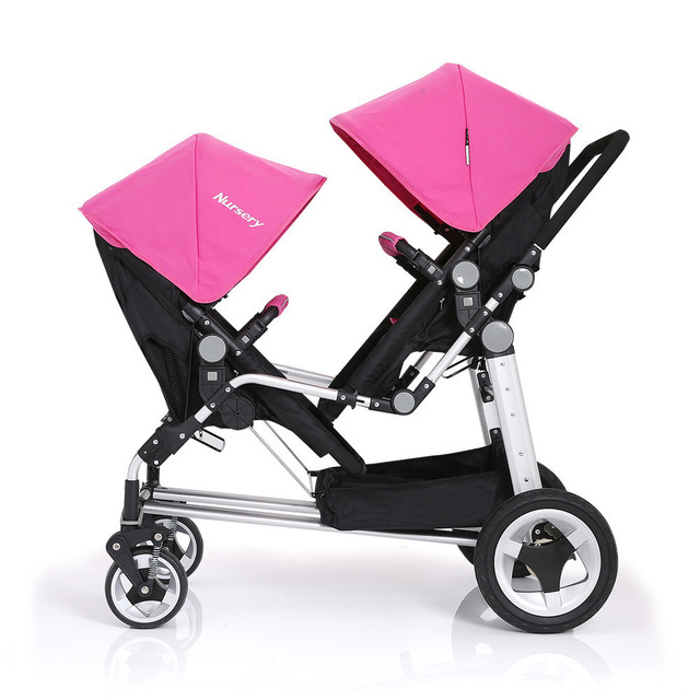 Red Pink Green Hot Selling Stroller For Twins Prams Aluminum Alloy Frame Multi States to Adjust Pushchair,Twins Baby Stroller