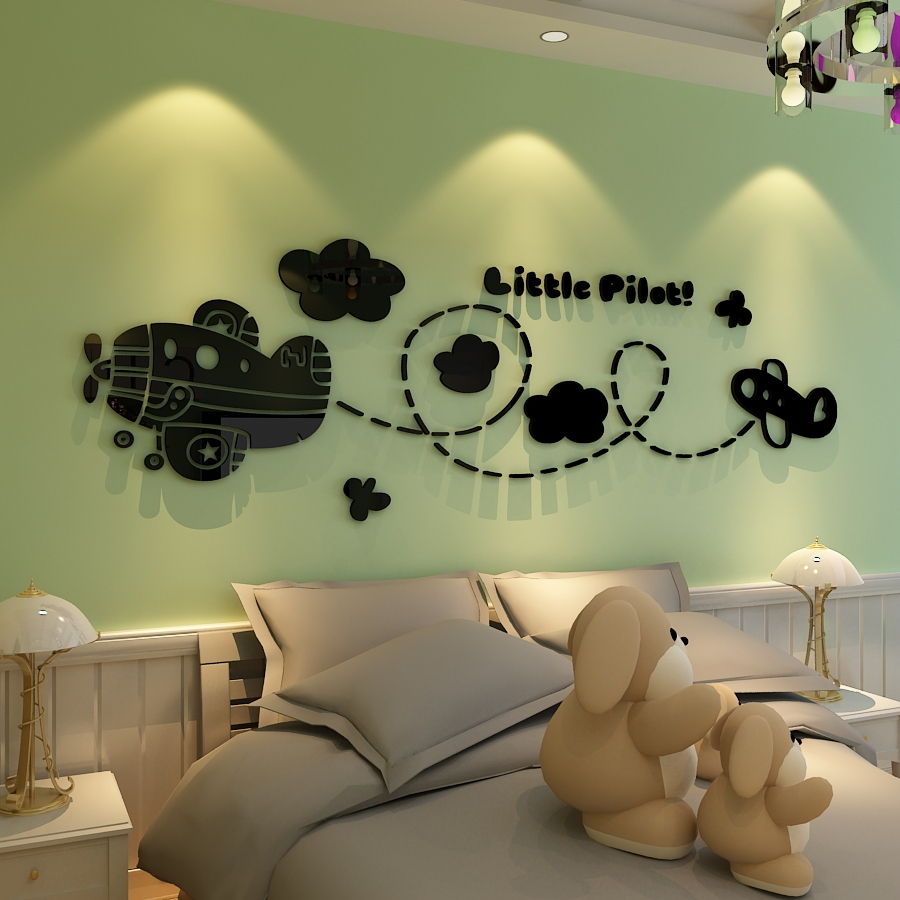 Small Aircraft Pilots Acrylic Wall Stickers Cartoon Children S Room Decor Baby Perspective Bedroom Walls Decals In From Home