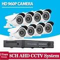 8 Canal 2500TVL 1080N DVR 960 P HD Cámara de Seguridad Exterior sistema 8CH HDMI 1080 P DVR Kit de Vigilancia CCTV AHD Cámara conjunto