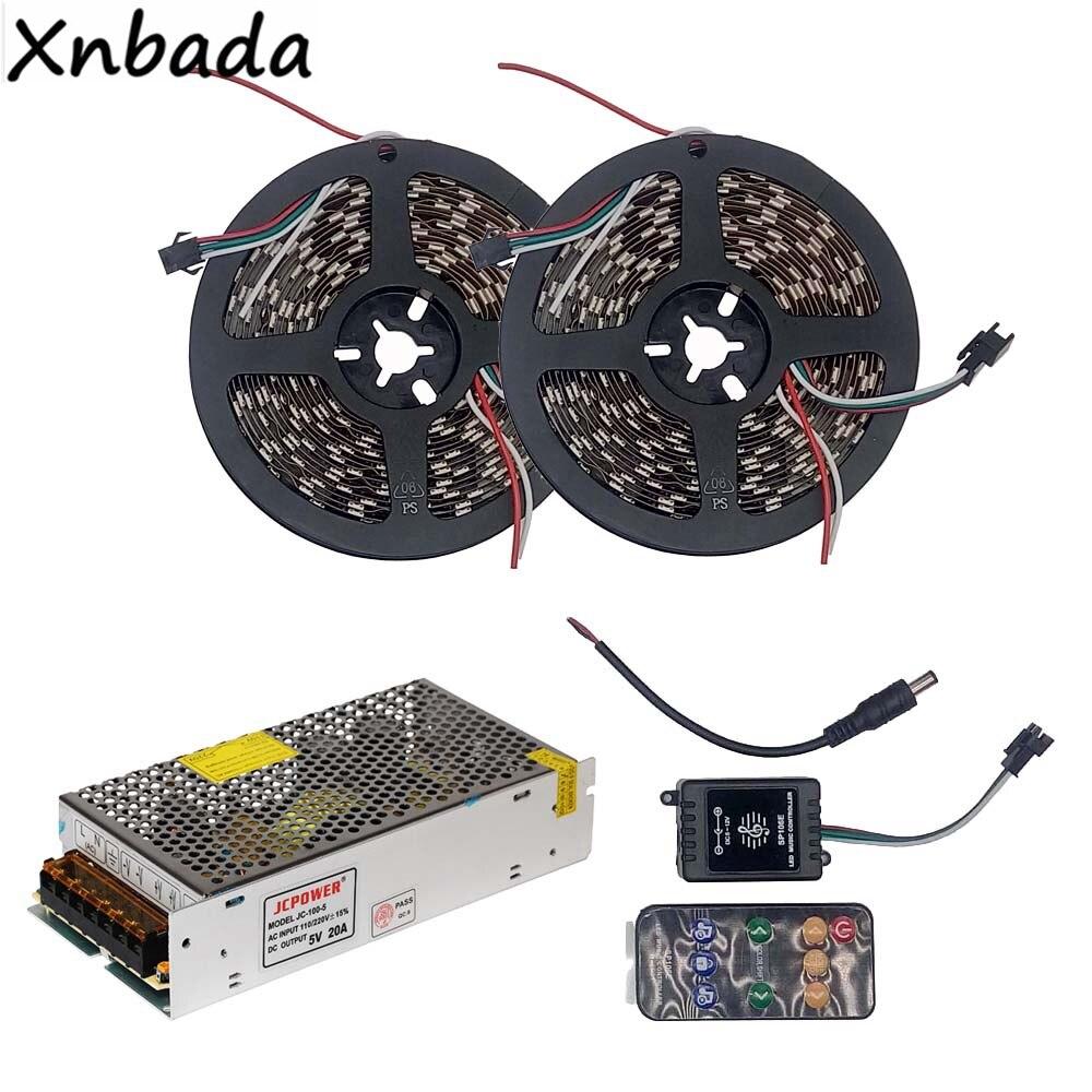5m 10m WS2812B WS2812 RGB Led Strip Light With SP106E 9Keys Remote Music Led Controller DC5V Power Supply Adapter Kit good group diy kit led display include p8 smd3in1 30pcs led modules 1 pcs rgb led controller 4 pcs led power supply