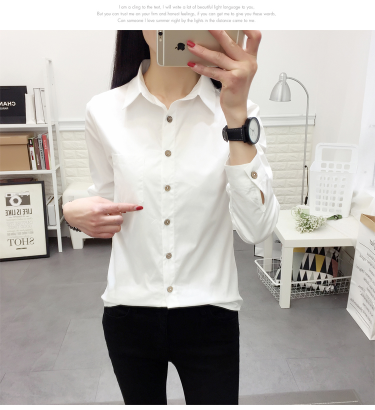 White 100% Cotton Casual Long Sleeve Office Blouse for Women