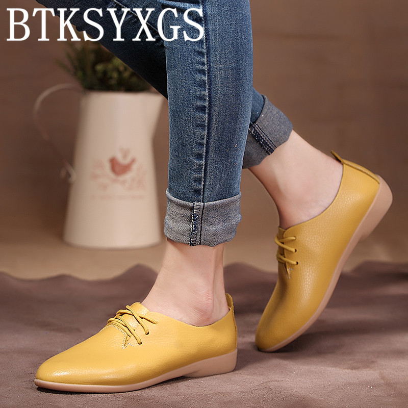 BTKSYXGS 2017 Women Casual shoes 100% genuine leather Tide Fashion pointed Toe comfortable soft bottom Women's flats shoes Woman 2017 new women shoes genuine leather casual shoes flats breathable lace up soft fashion brand shoes comfortable round toe white