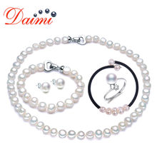 PRESALE DAIMI Incredible Pearl Sets 5 Items One Suit, Necklace Bracelet Bangle Ring Earrings for Woman Christmas Gift Value Gift(China)