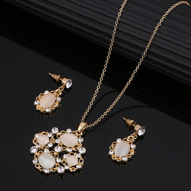 Fashion Golden Plated Jewelry Sets For Women Wedding Bridal Natural Opal Stone Necklace Earrings Set Crystal Jewelry Set