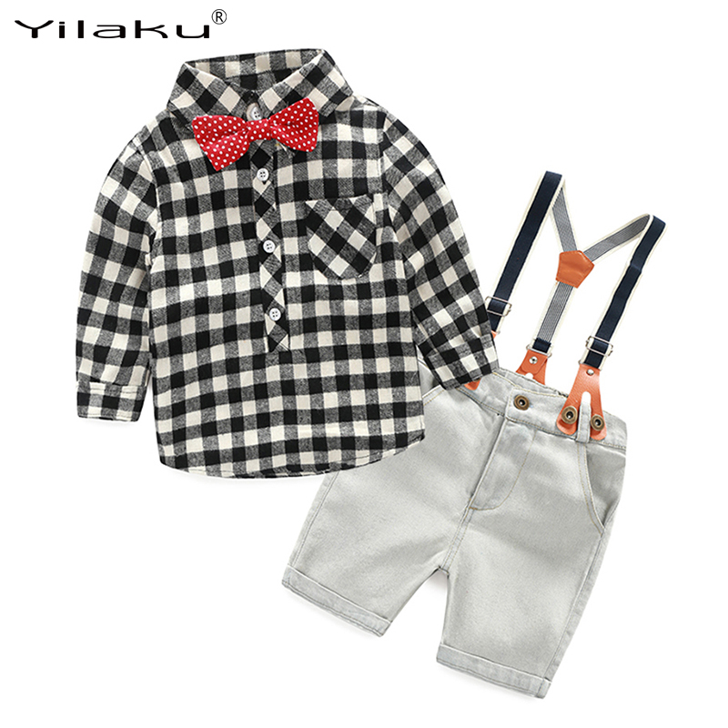 Boys Girls Clothing Sets Children Clothes Cotton Plaid T-shirt +Suspender Pants Clothing Sets Boys Girls Clothing Outfits CF402