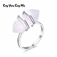 925 Sterling Silver Big Natural Stone Rings Say You Say Me Wedding Engagement Luxury Jewelry Ring
