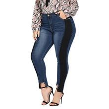 Для женщин джинсы для брюки девочек плюс размеры промывают джинсовые длинные Высокая талия офисные женские туфли рваные капри штаны на молнии
