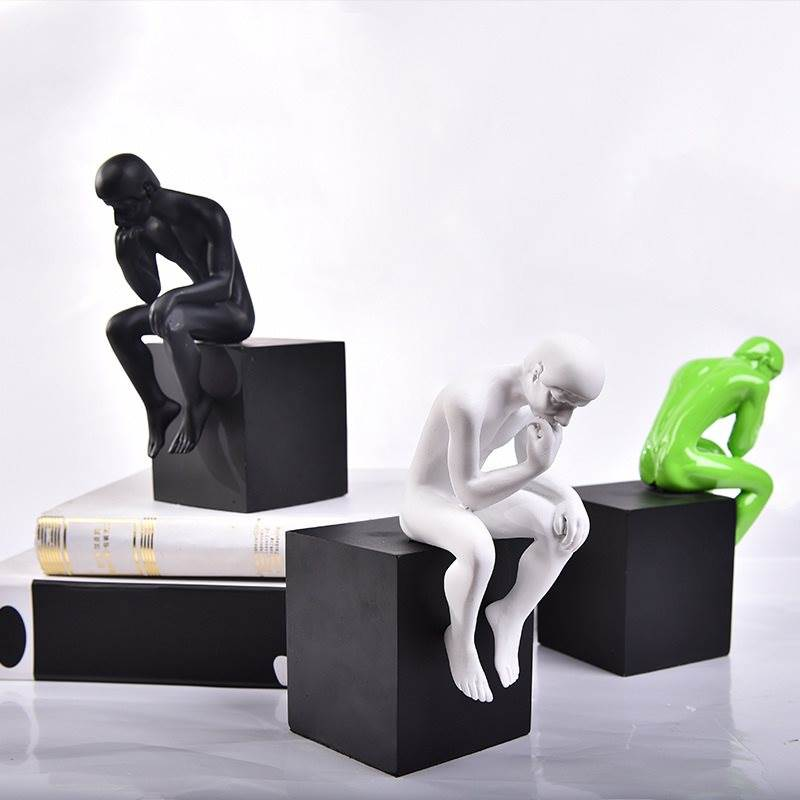 Abstract Vintage Thinker Figure Figurine Statue White And Black Sculpture Resin Craftwork Home Office Ornament Decor L3285