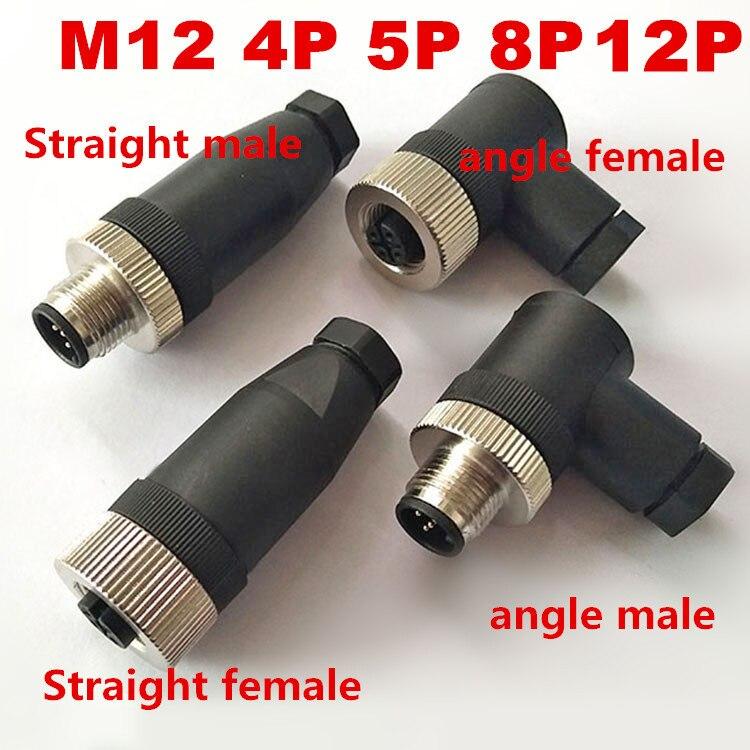 Сенсор соединитель M12 водонепроницаемый мужской и женский прямой и угловой винт Резьбовая Соединительная муфта 4 5 8 12 контактный A Тип