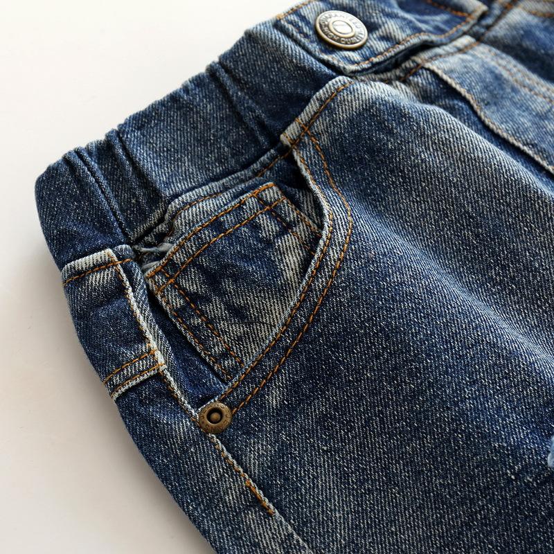 Hole Jeans For Boys Elastic Waist Kids Denim Trousers Kids Cowboy Harem Pants Solid Boy Jeans 2017 Spring Children Jeans 2-6 Y  (9)