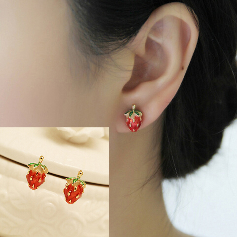 gold yellow studs strawberry pin stud and andralok earrings