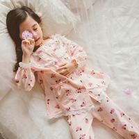 Baby girls 100% cotton flower print Pajamas 2019 spring autumn new lace patchwork long sleeve home clothes for teenage children