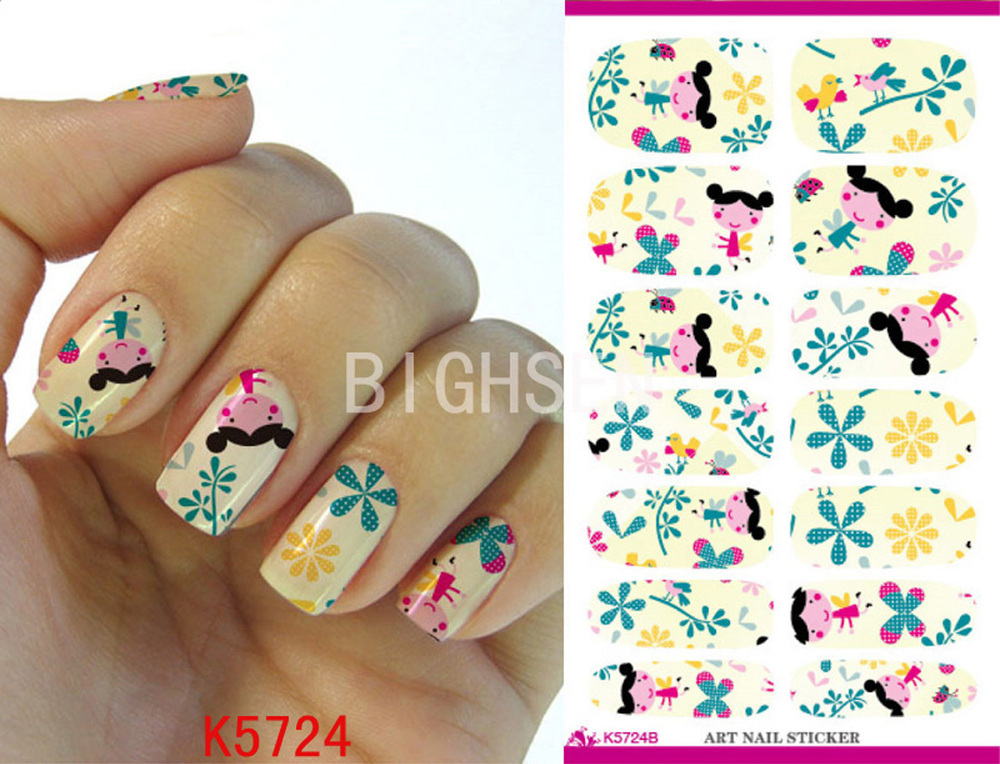 Cartoon Girls Full Cover Stickers For Nails Water Transfer Nail Art ...