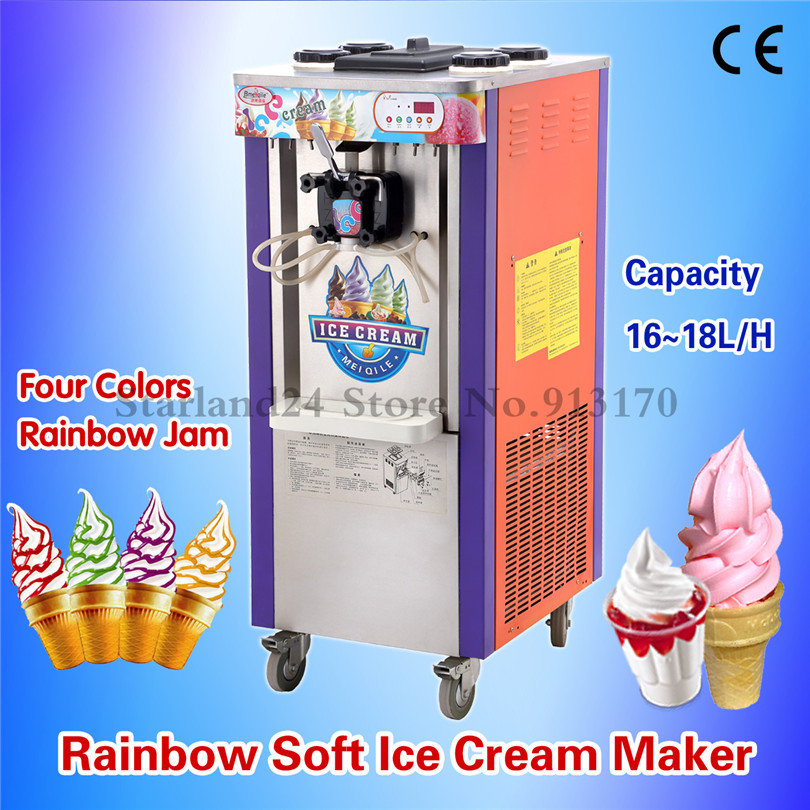 Commercial Rainbow Ice Cream Machine Soft Serve Ice Cream Making Machine 1 Flavor+4 Colors Raibow Strip with Casters