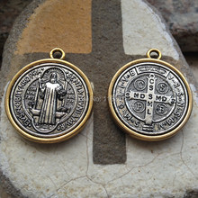 Lot of 5 pcs diameter 28mm vintage antique gold silver plated Catholic Religious Gifts St Benedict Medal big saint Pendant(China)