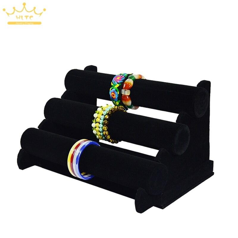 EMS дисплей ювелирных изделий три яруса браслет и браслет часы бар ткани дисплей ювелирных изделий
