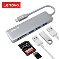 Lenovo 5 em 1 Adaptador Hub USB Hub C Tipo de Liga de Alumínio-C 3 Super Speed USB 3.0 Portas SD/TF Card Reader para Macbook Pro de 5 Gbps