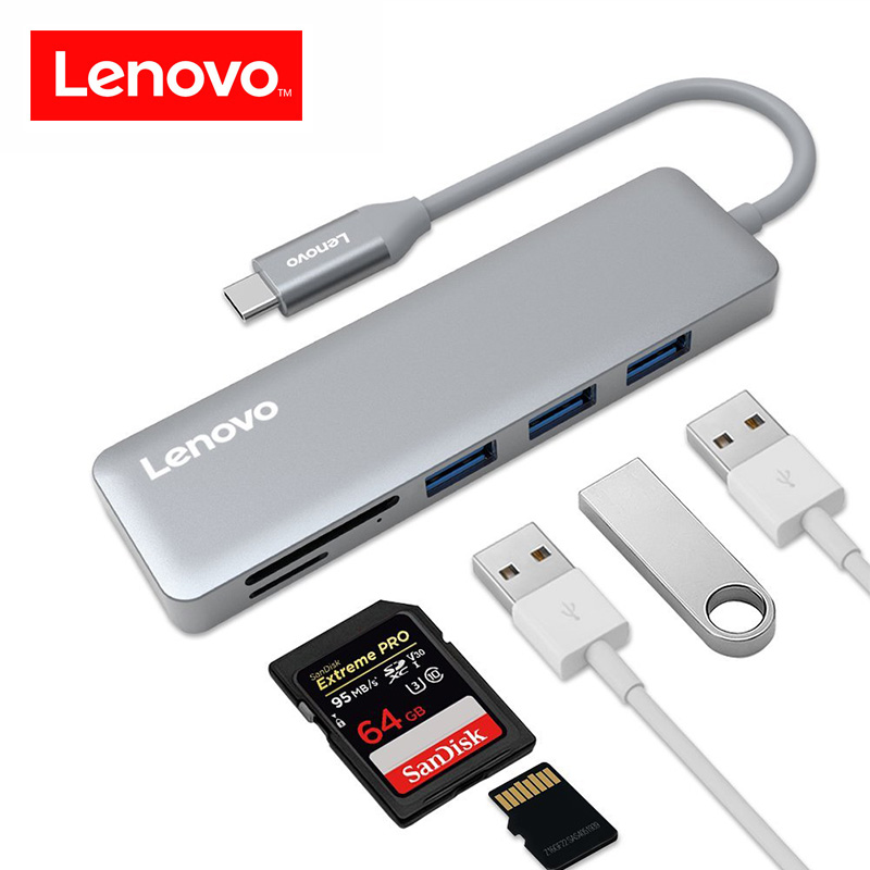 Lenovo 5 in 1 USB C Hub Aluminium Alloy Type-C Hub Adapter 3 Super Speed USB 3.0 Ports SD/TF Card Reader for Macbook Pro 5 Gbps