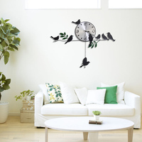 Iron Birds Pendulum Mute Quartz Clocks 3D Wall Clock for Living Room Home Decoration