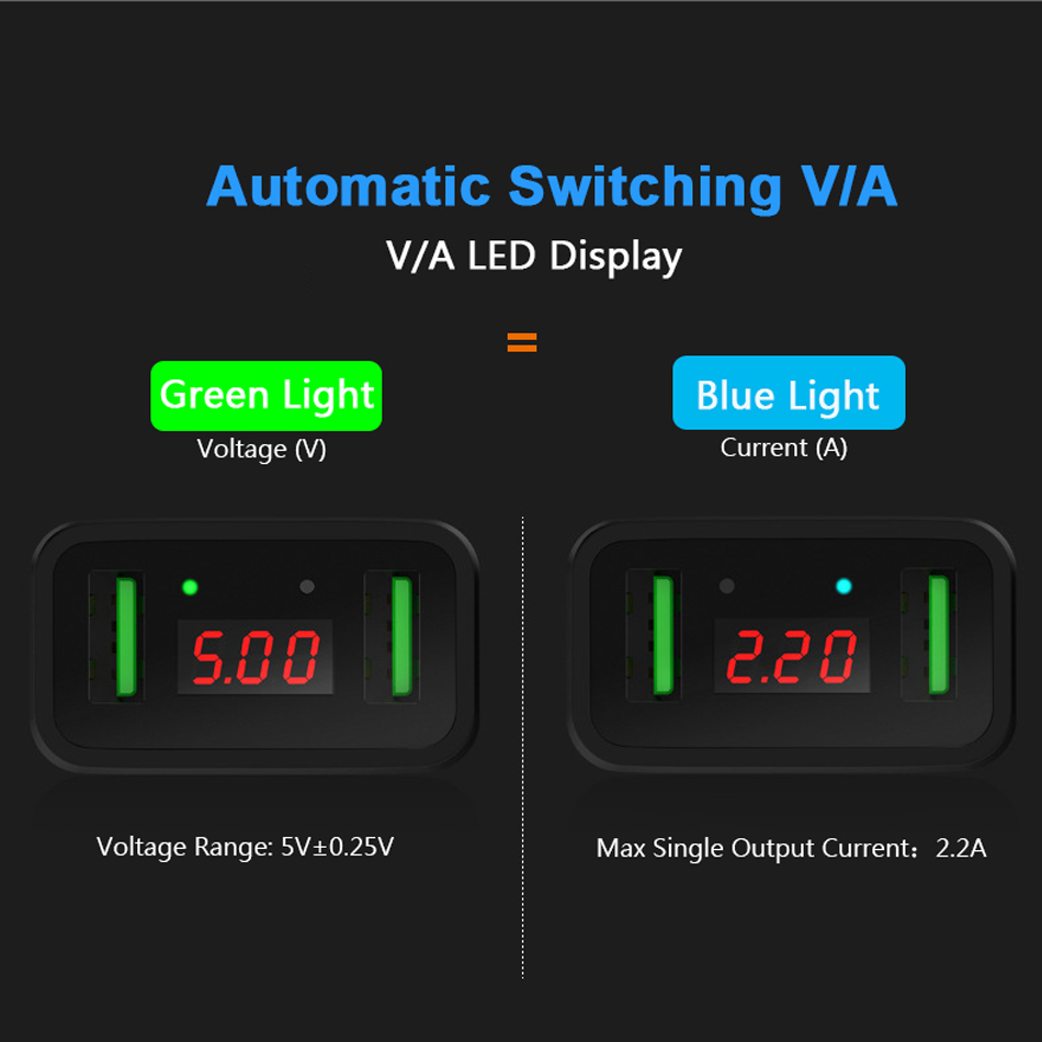 DCAE 2A Dual USB Charger For Phone For iPhone Mobile Phone Charger EU Plug LED Dual Ports Fast Charge Tablet Charging Adapter