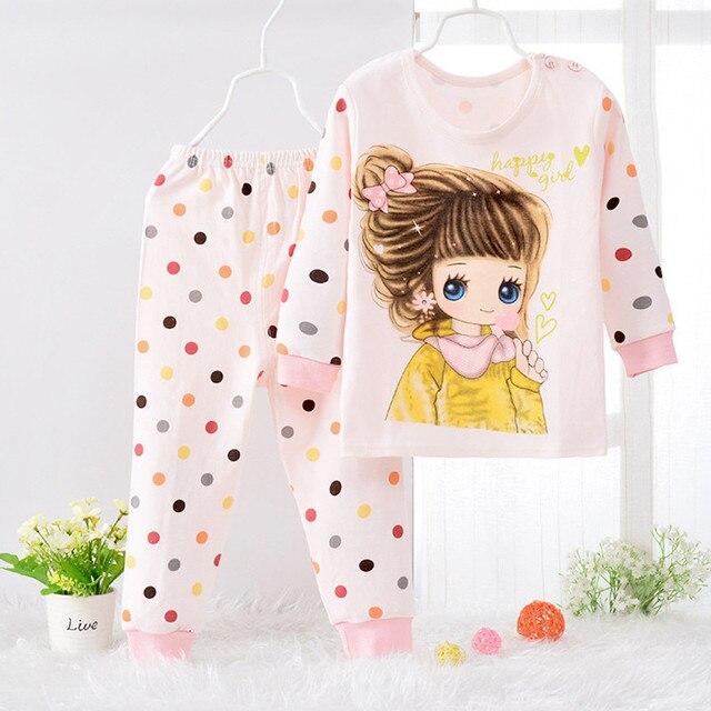 Pijamas Дети вязание Pijamas мальчик девочка Хлопка Пижамы набор футболка + брюки костюмы Мультфильм пижамы возраст 2y-6y хлопок