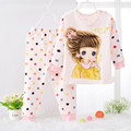 Pijamas Kids knitting Pijamas Baby boy girl Cotton Pajamas set T-shirt+pants suits Cartoon sleepwear age 2y-6y combed cotton