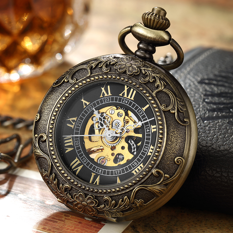 Retro Steampunk Mechanical Pocket Watch Bronze Flower Laser Engraved Fob Chain Box Package Men Women Flip Watches Skeleton Clock