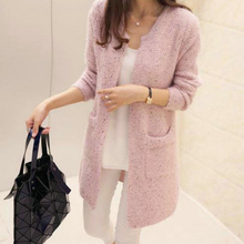 ФОТО women casual sweaters o-neck long sleeve jumpers cashmere tops clothing long cardigan jacket with pockets 2018 outwear coats