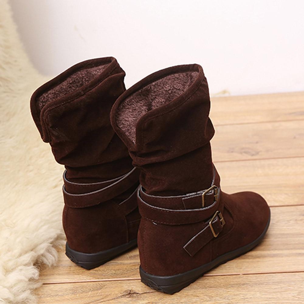 3e6b1d6f22d2 CAGACE 2018 Women Autumn Winter Womens Boots Low Wedge Buckle Biker Trim  Flat Mid Calf Boots Shoes Girls Ankle Boots-in Ankle Boots from Shoes on ...