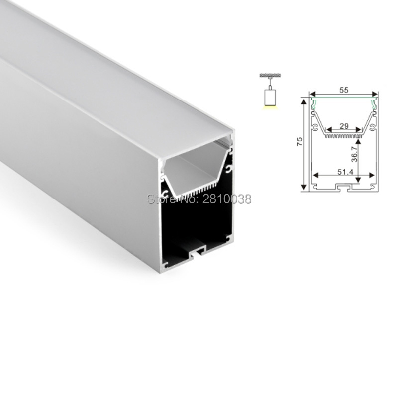 100 X1 M Sets/Lot Office lighting led channel and large U aluminum profile led strip light for pendant or hanging lights 50 x 2m sets lot office lighting led profile housing 75 mm tall u type led aluminum extrusion for suspension lights
