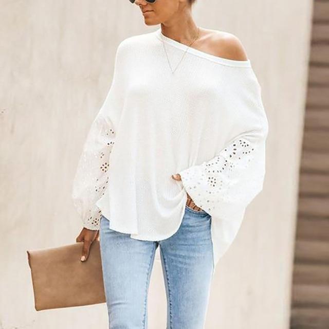 Elegant Solid Floral Hollow Out Blouse Shirt Women Lantern Sleeve White Tops Spring Blouse Casual Loose Blusas feminin Plus Size 1