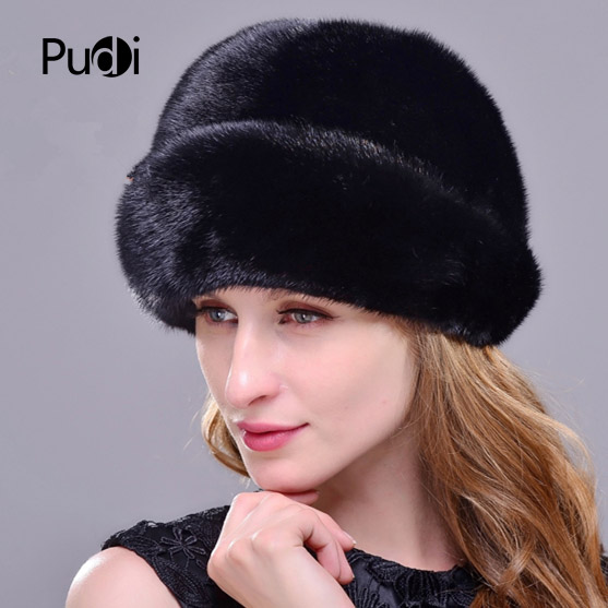 HM013 Winter hats for women Real genuine mink  fur hat  women's winter hats whole piece mink fur hats 4
