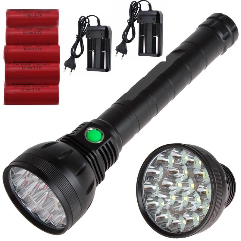 High Powerful 22000 lumen 18T6 Led Flashlight 18x Cree XM-L T6 5 mode led lantern Torch + x 7200mah 26650 battery 2x Charger