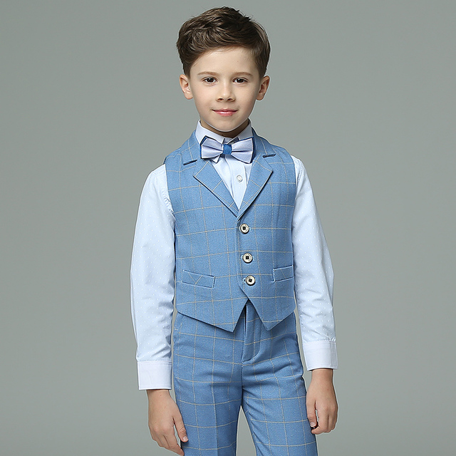 2017 Autumn Boys Suits Plaid Light Blue Vest Sets Wedding For Kids Tuxedos