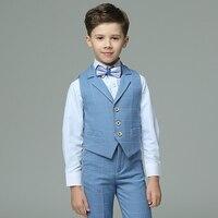 2017 Autumn Boys Suits Plaid Light Blue Vest Sets Wedding Suits For Kids Tuxedos Boys Wedding